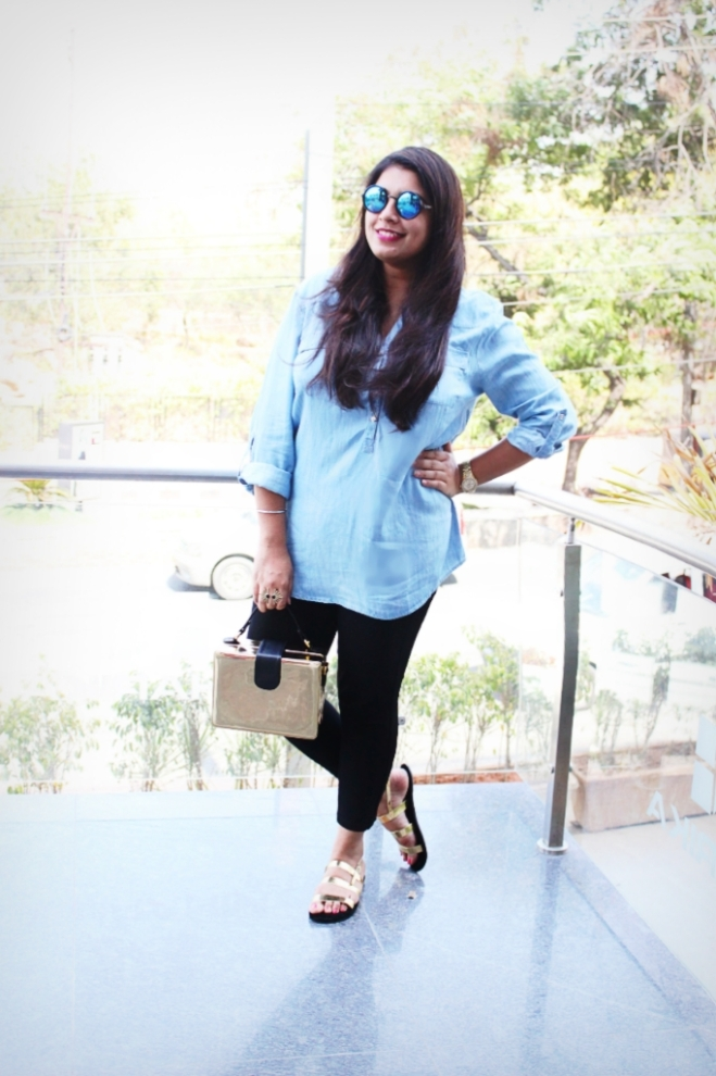 Denim shirt-Promod, Jeggings-Zara, Shades-Borrowed, Bag- Spades style (bought from Honeyhugx), Footwear- Gk2  (Delhi)